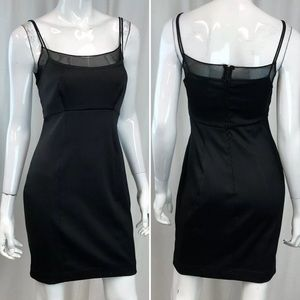 Vintage Tadashi Stretchy Bodycon Mesh Trim Dress